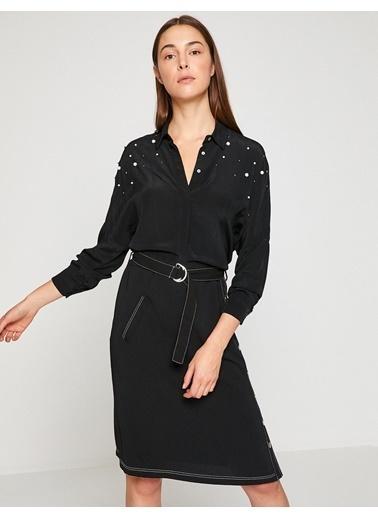Koton İnci Detaylı Gömlek Siyah